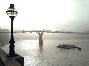 A photograph of Millennium Bridge, London, in the Fog.