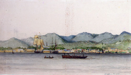 A watercolour painting of Port-of-Spain, Trinidad, in approximately 1840.