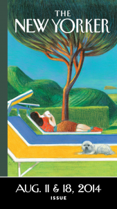 Cover of The New Yorker magazine for August 11 and 18, 2014 showing a woman lying on a pool lounge chair next to a small white lap dog.