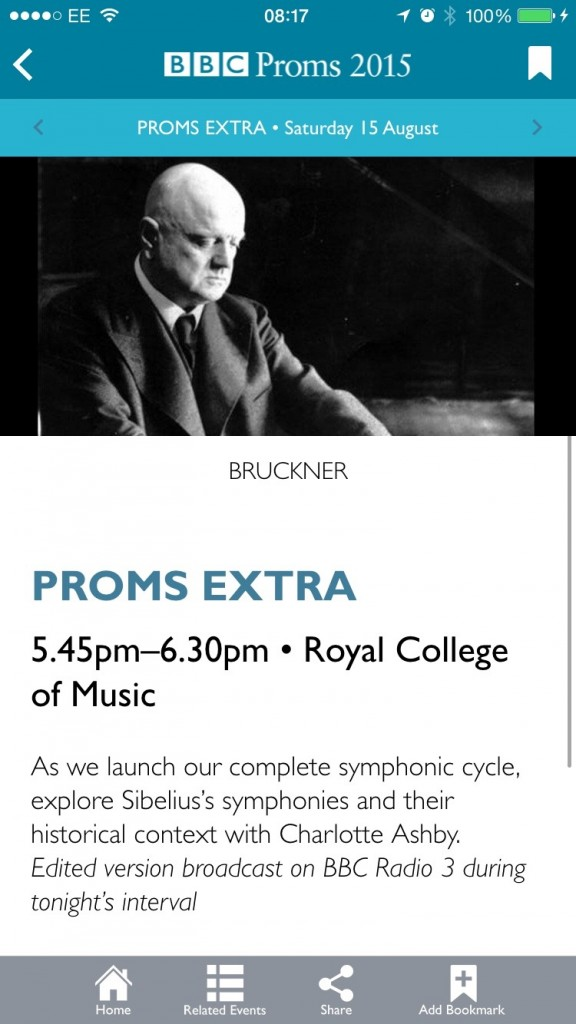 A screen shot of the Proms 2015 iPhone app
