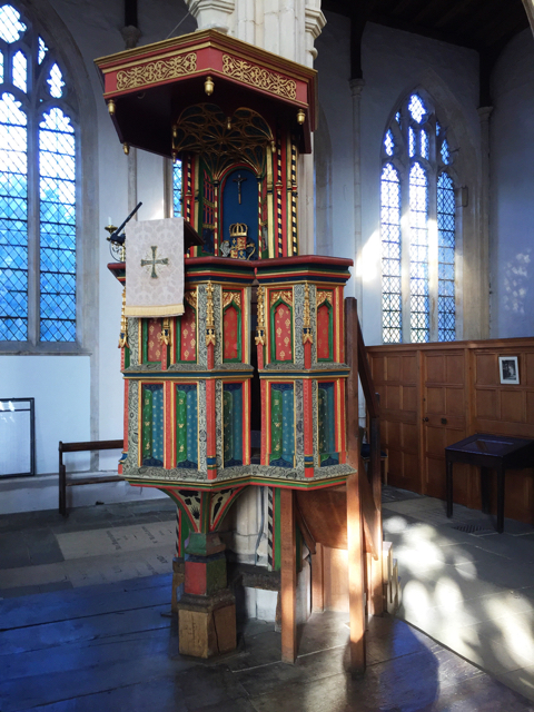 A photograph of the pulpit at Church of St Mary and All Saints, Fotheringhay.